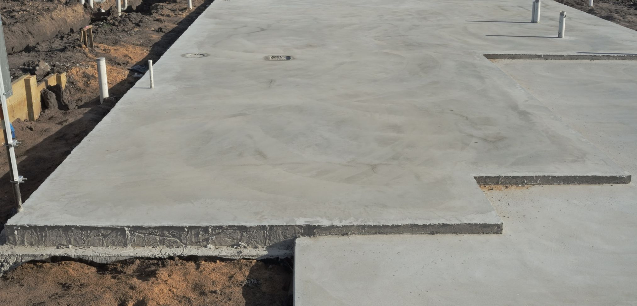 Large concrete foundation for a home in Redmond, WA